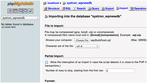 Import WordPress Database